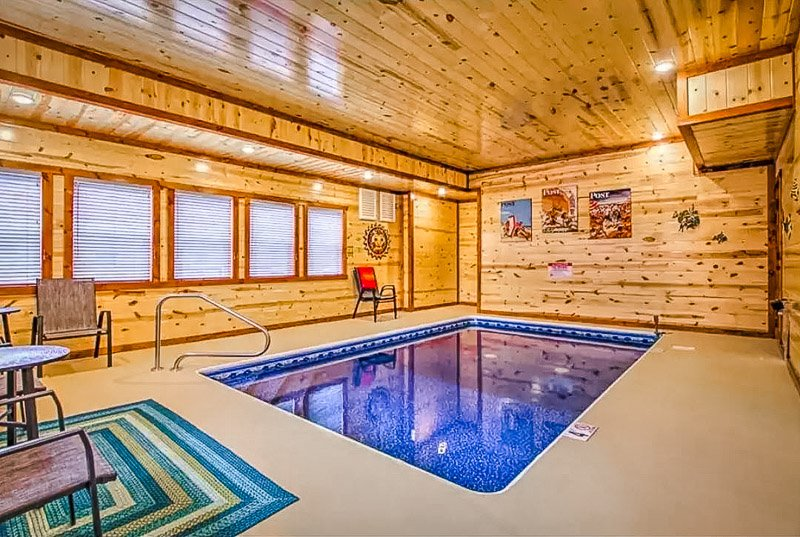 Beautiful cabin Airbnb with indoor pool.