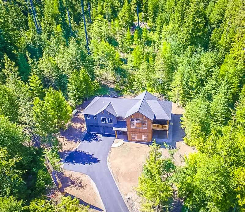 Aerial view of the vacation rental