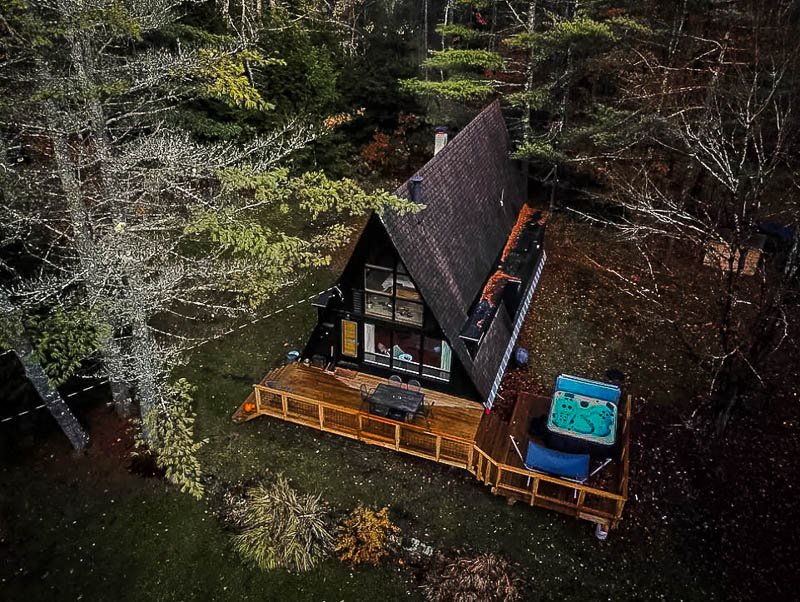 Aerial view of the A-Frame cabin