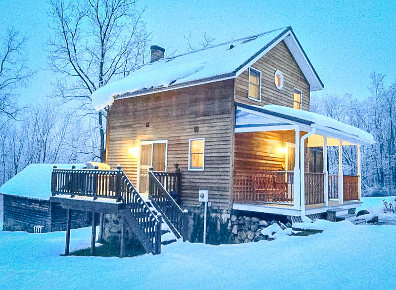 A cozy winter lodge for rent in the Finger Lakes.