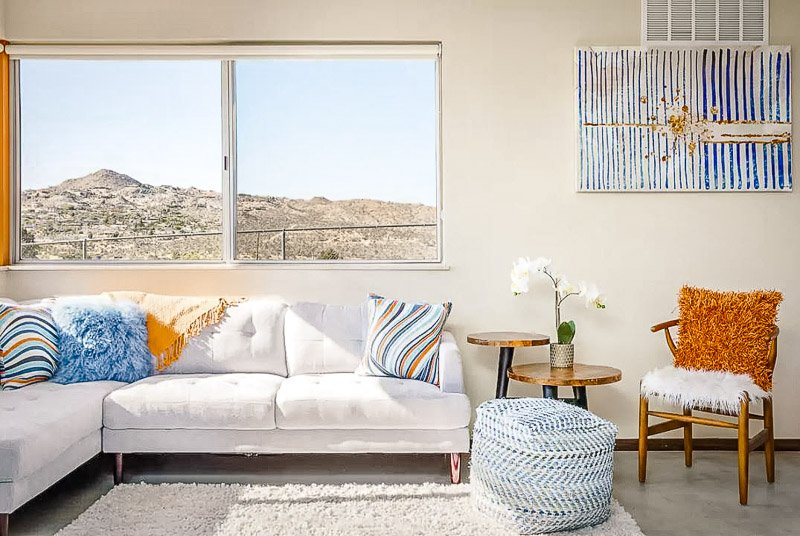 Living room with desert views.