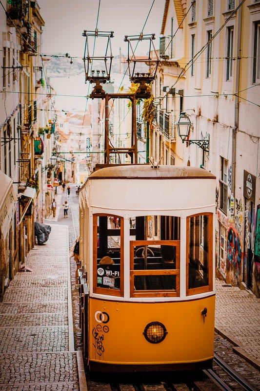 The Ascensor da Bica is an iconic sight in Lisbon.