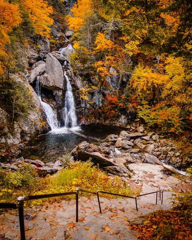 Fall foliage at Bash Bish Falls, the highest waterfall in Massachusetts