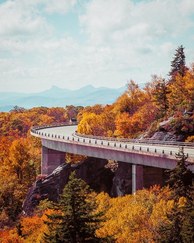 The Blue Ridge Mountains are especially magical during the peak fall foliage season.