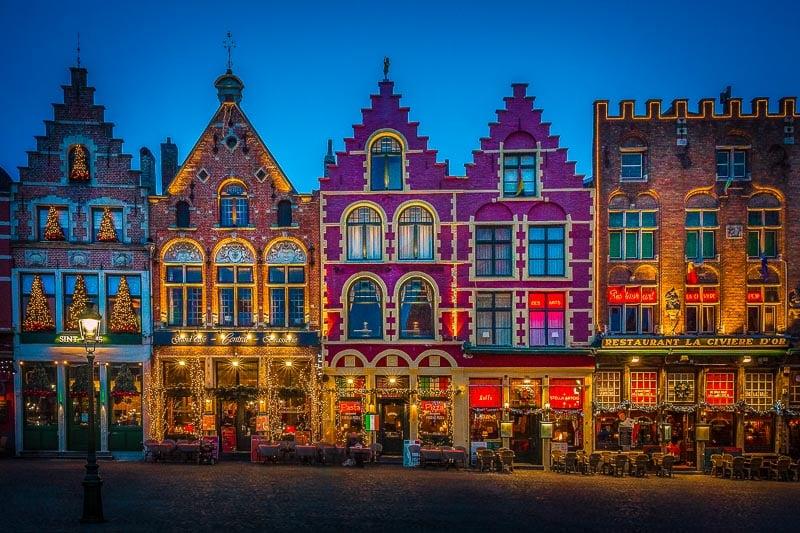 Beautiful Bruges at night.