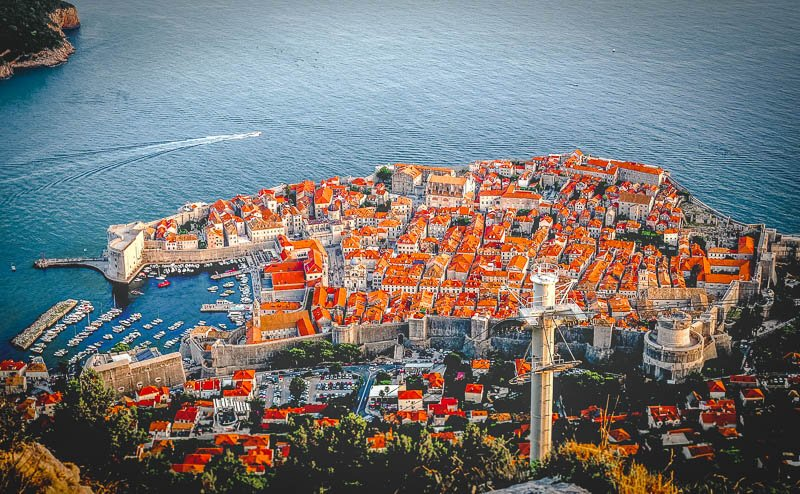 Take a cable car to the Restaurant Panorama, where you'll have sweeping views of the walled city of Dubrovnik.