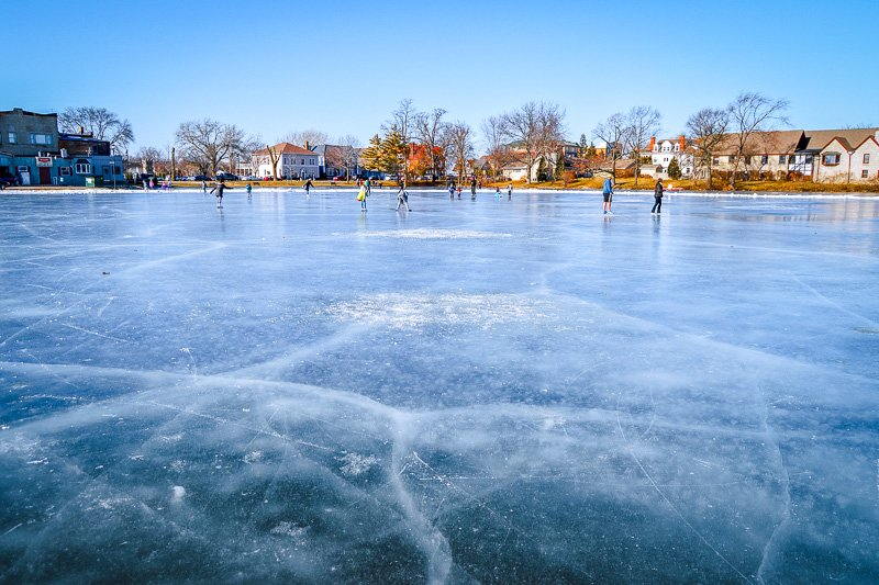 Lake Fowler in Wisconsin is a popular place for ice skating.