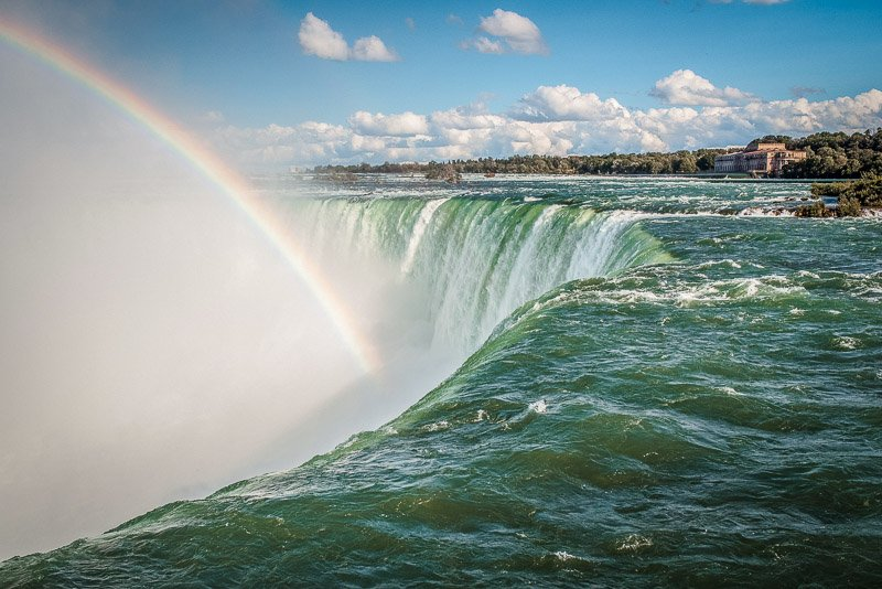 Rainbows are frequently sighted at Niagara Falls.