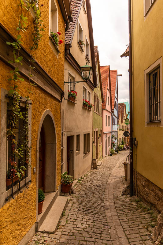 A quiet street not far near Rothenburg's main market square.