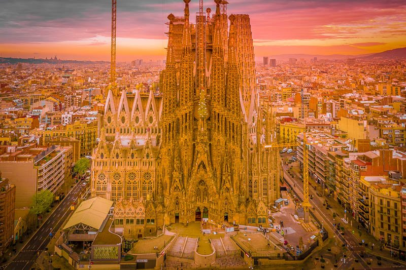 The Sagrada Familia dominates Barcelona's skyline.