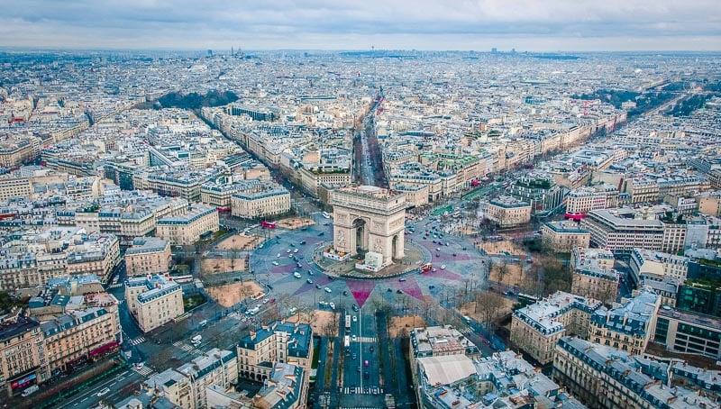 The Arc de Triomphe is the focal point of Paris.