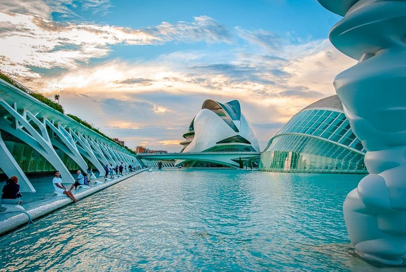 The City of Arts and Sciences is a futuristic attraction in Valencia.