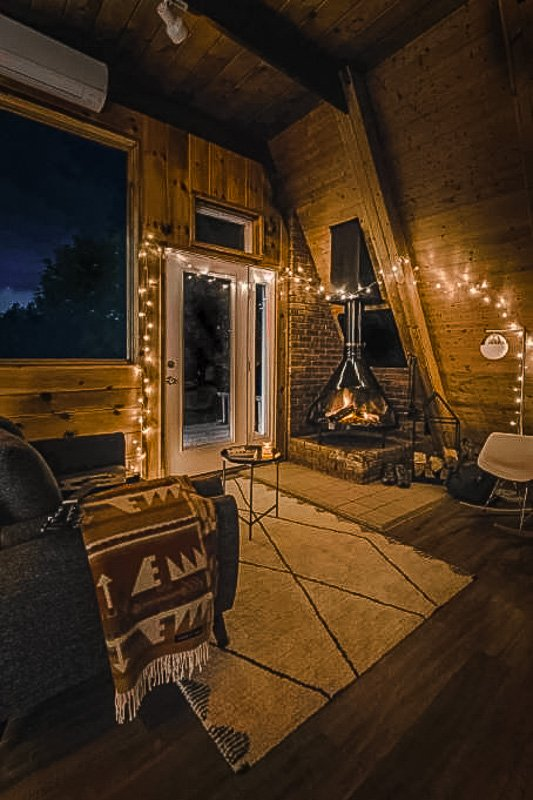 Cozy vibes inside the A-Frame cabin