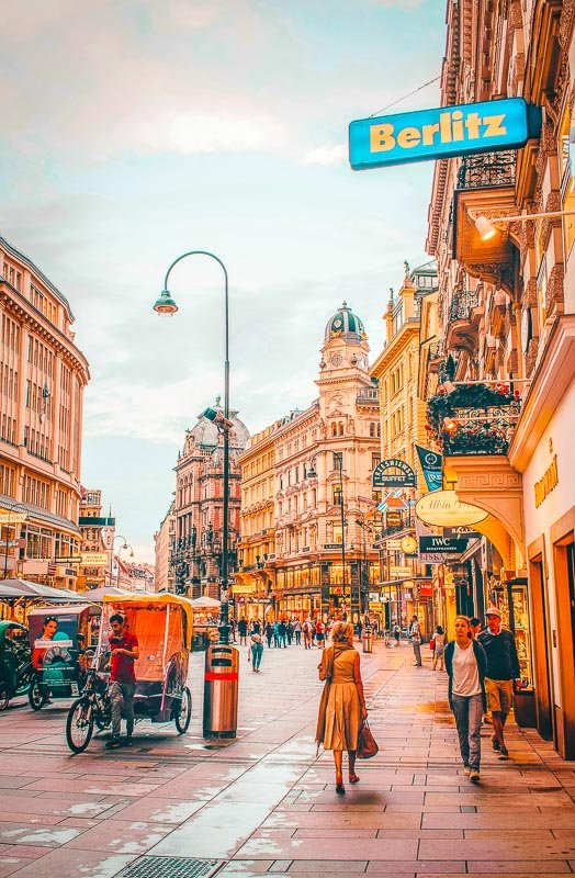 The vibrant streets of Vienna.