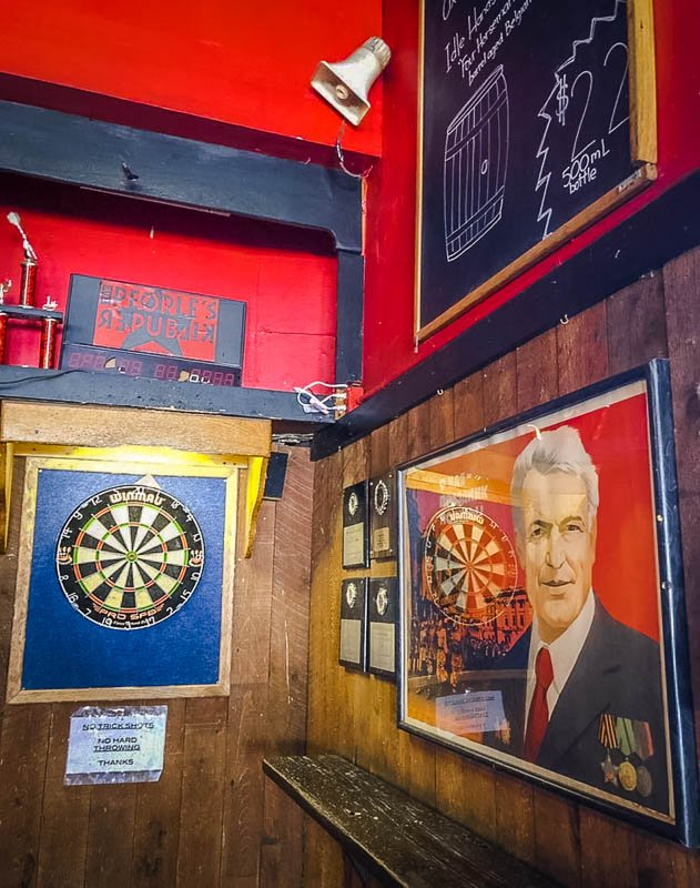 Play darts and check out the Soviet Union posters and artifacts.