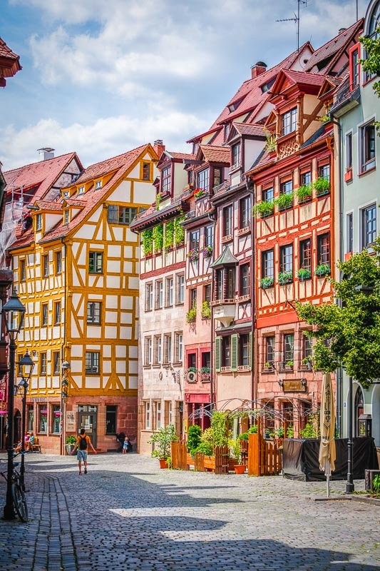 Beautiful half-timbered homes in Nuremberg.