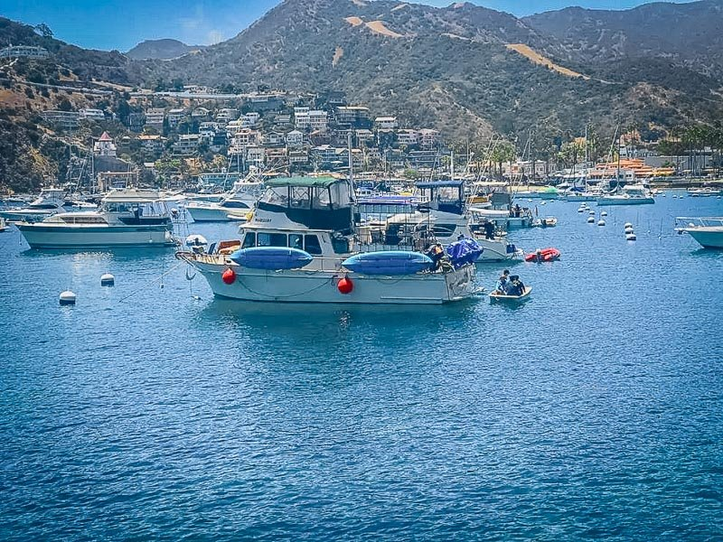 Catalina Island views from the houseboat Airbnb.