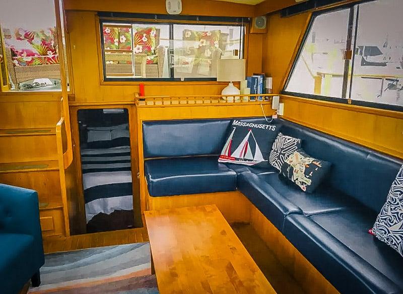 Boat Airbnb interior cabin