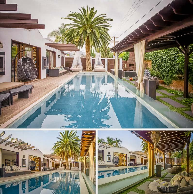The pool area is perfect for large groups.