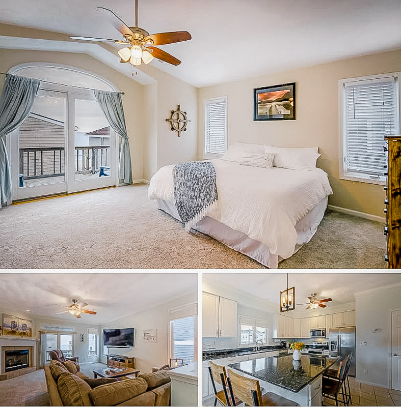 Spacious master bedroom, living room, and kitchen