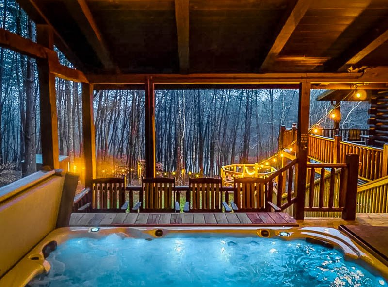 Hot tub on the spacious deck