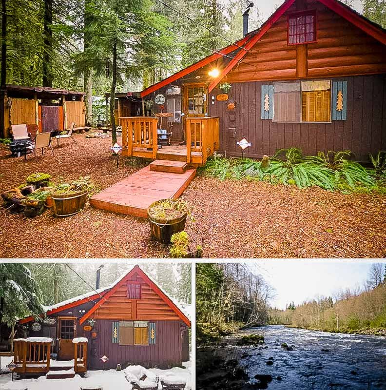 A long-term log cabin rental in Oregon.