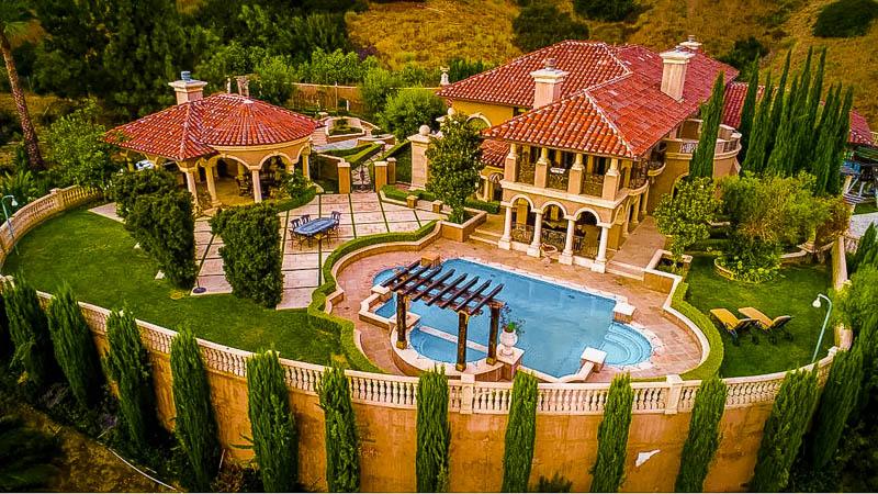 Aerial view of this unique mansion rental