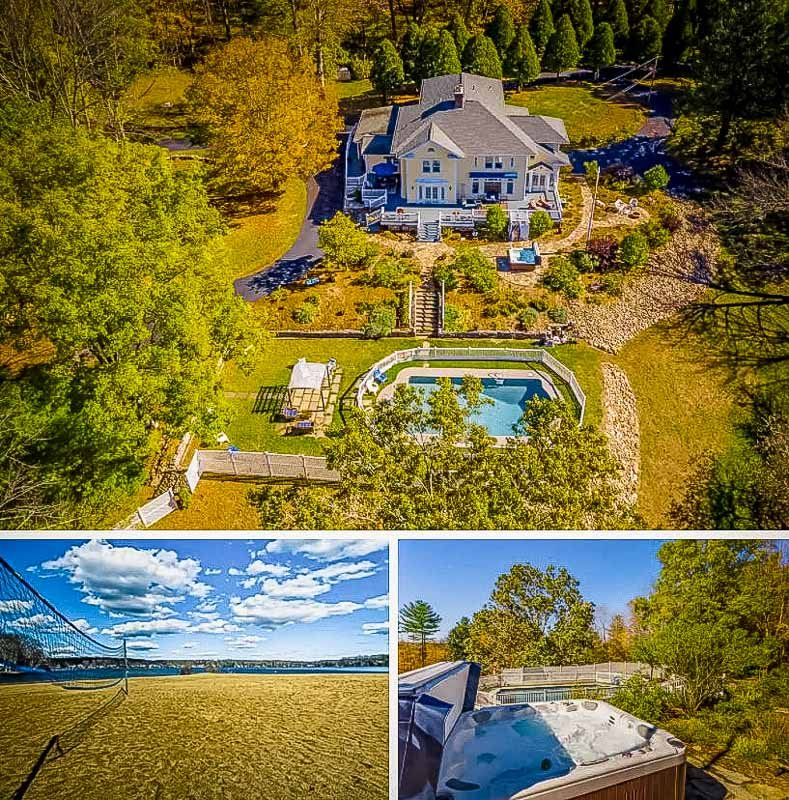 A mansion for rent in CT with a private outdoor pool and hot tub