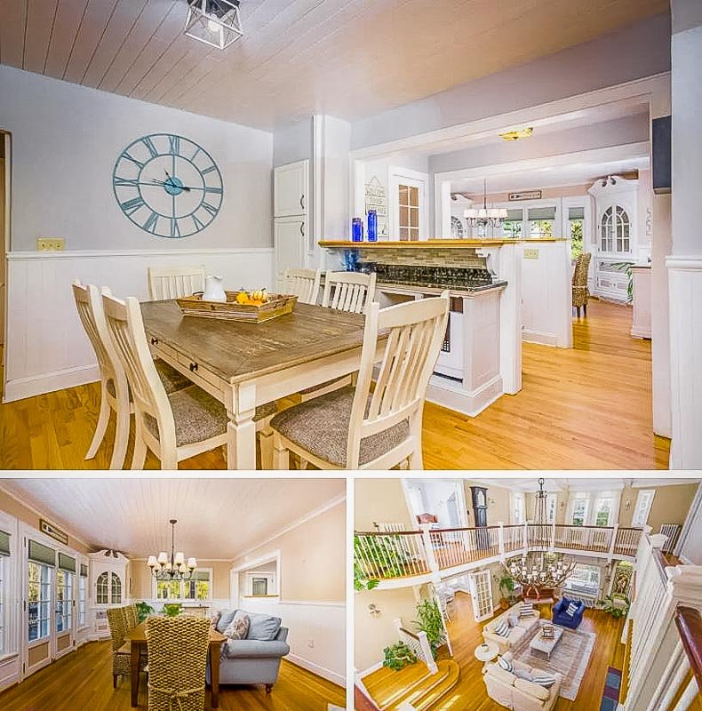 Cozy kitchen, dining room, and living room.