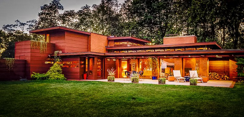 Frank Lloyd Wright architectural home and Airbnb