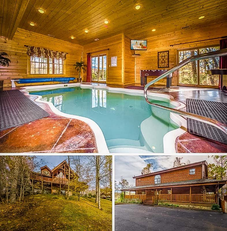 Rustic cabin with an indoor swimming pool