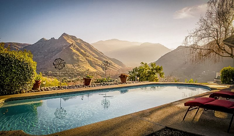This Airbnb rental in California has a private pool with mountain views.