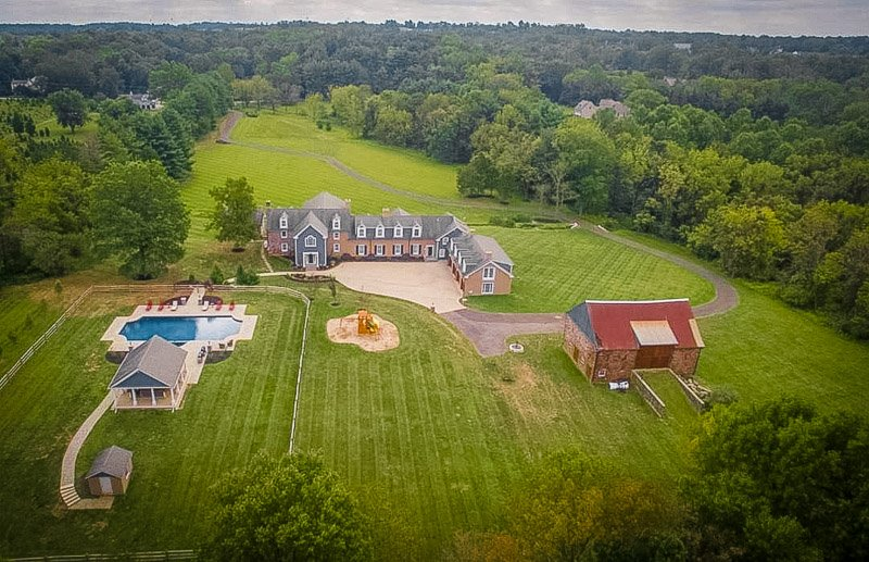 Aerial view of the Pennsylvania Airbnb mansion rental