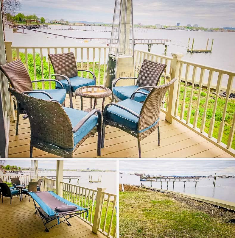 Outdoor seating area right on the water