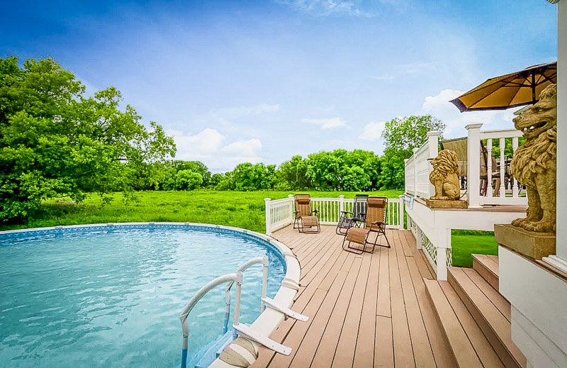 Large Airbnb with private above ground pool in Michigan.