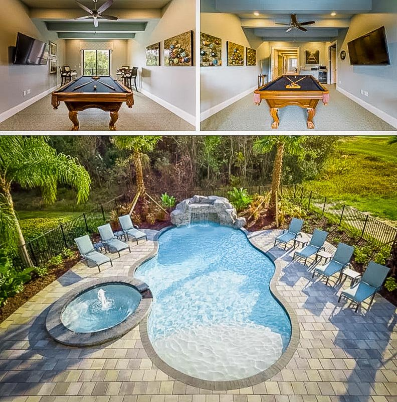 Game room and private pool area with waterfall