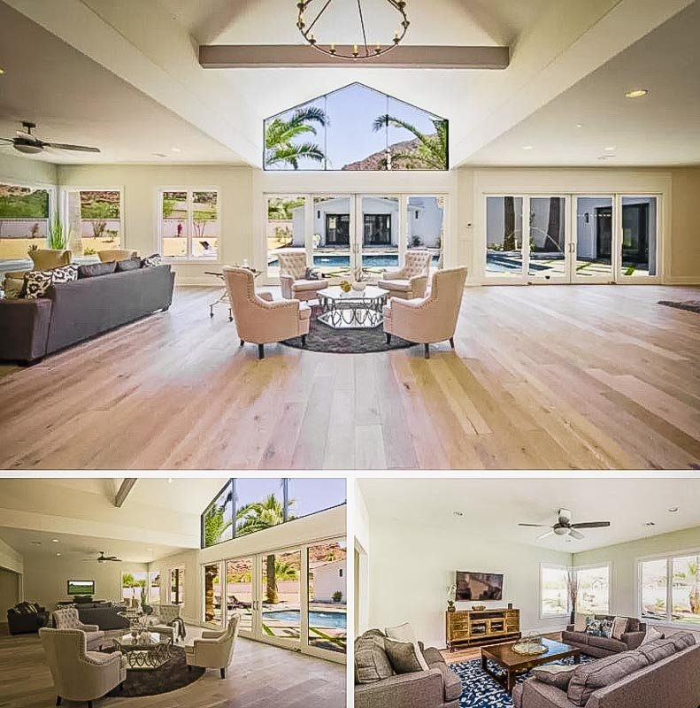 Spacious living room overlooking the pool area.