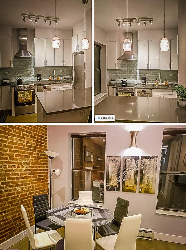 Elegant kitchen area.