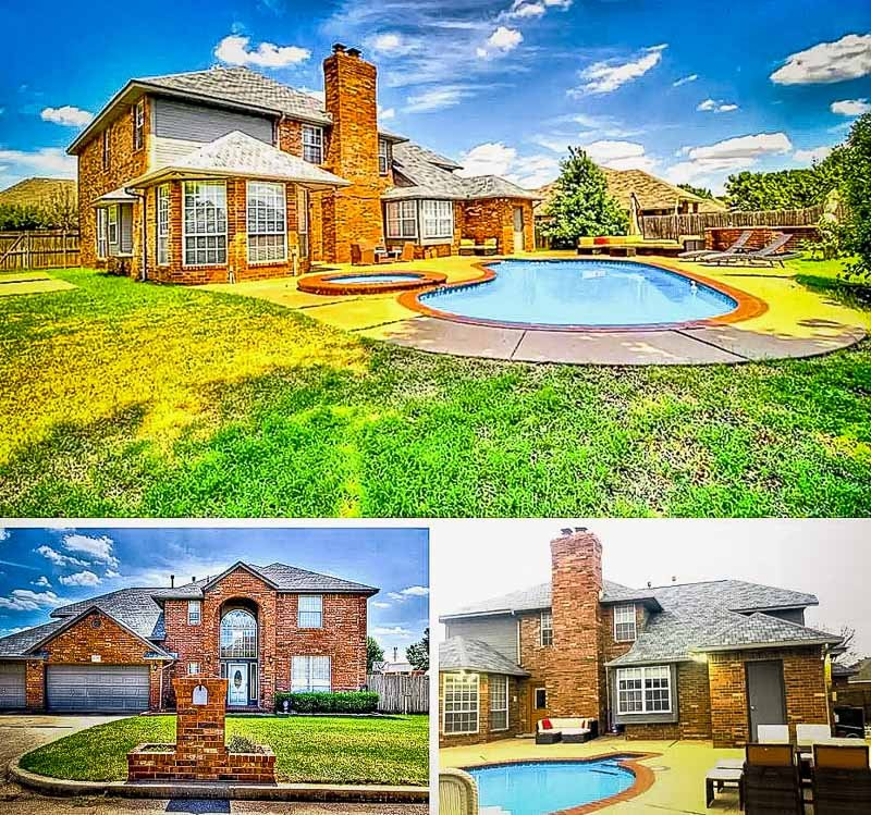 A house in Oklahoma with amazing amenities including a private pool and home theater.