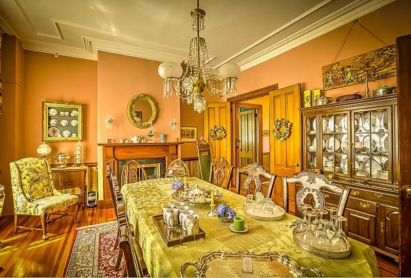 Elegant and historic interior decoration and furnishings.
