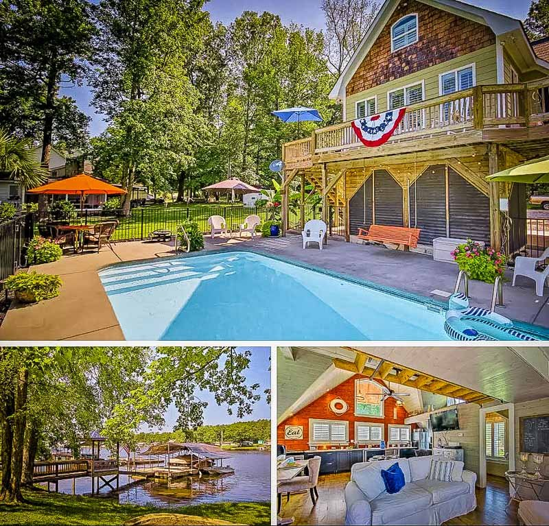 One of the best Airbnbs with a private pool and lake in South Carolina.