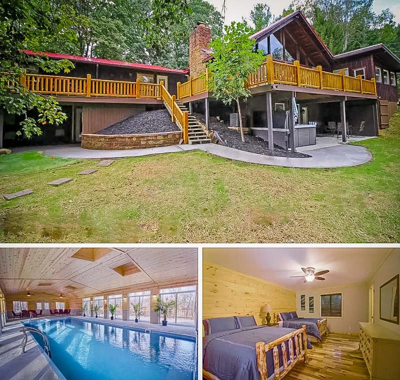 Upscale Airbnb accommodation with indoor saltwater pool in Hocking Hills
