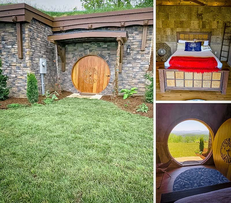 Iconic round door serving as the entrance to the hobbit house.