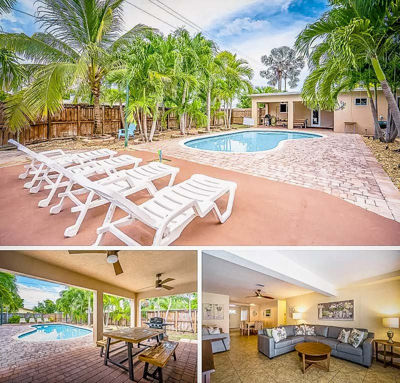 Beautiful outdoor pool area is perfect for accommodating large groups.