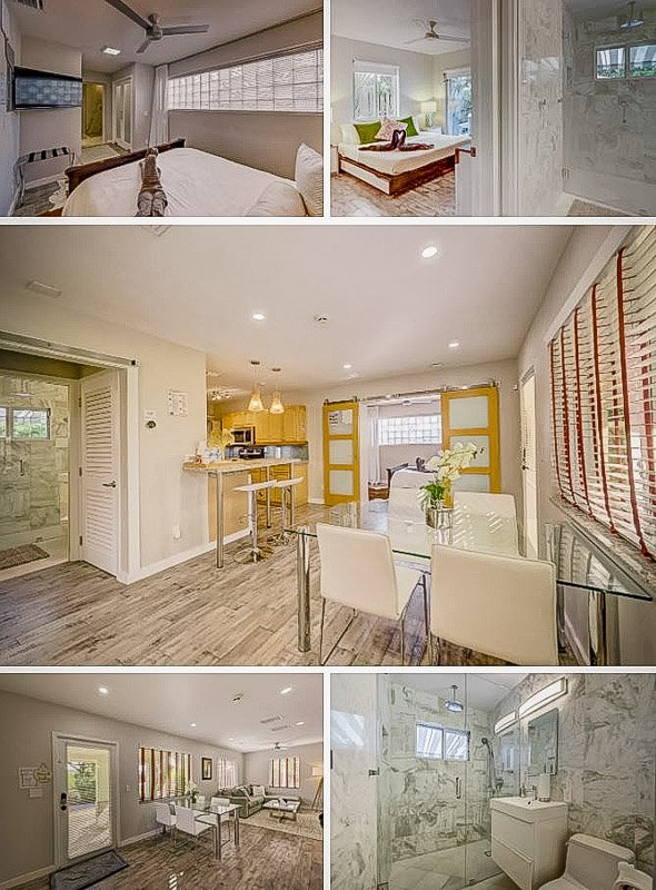 Master bedroom, kitchen, and bathroom.