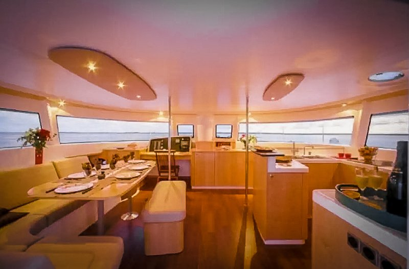 Interior dining cabin inside the yacht