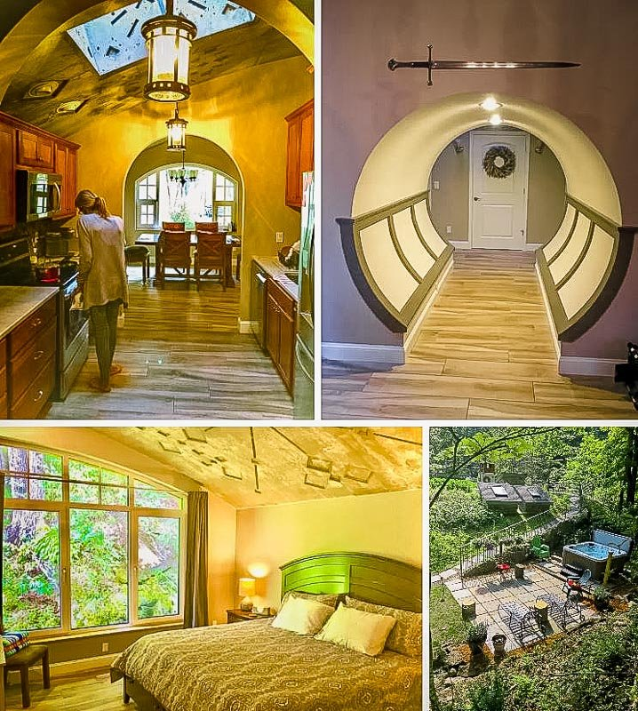 Unique hobbit hole features and amenities.