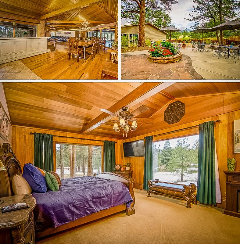 Log cabin vibes inside this Airbnb with pool