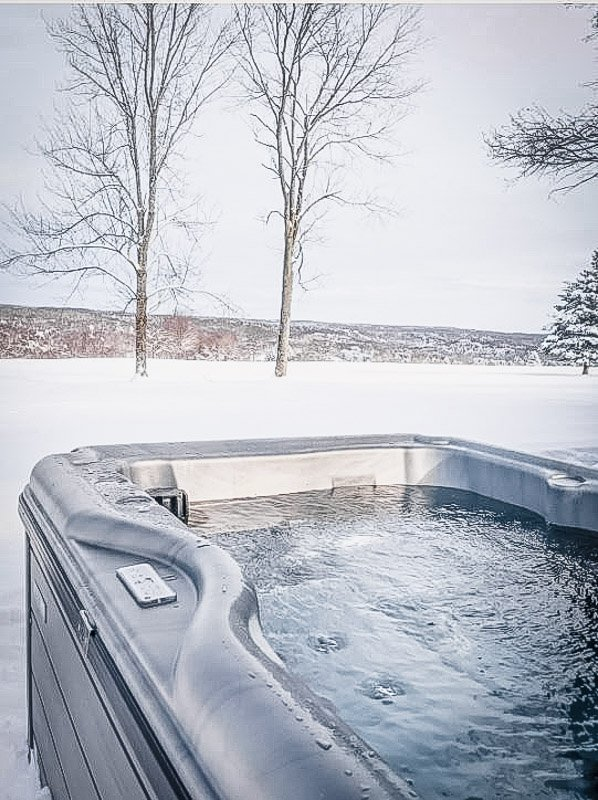 Outdoor hot tub with a view