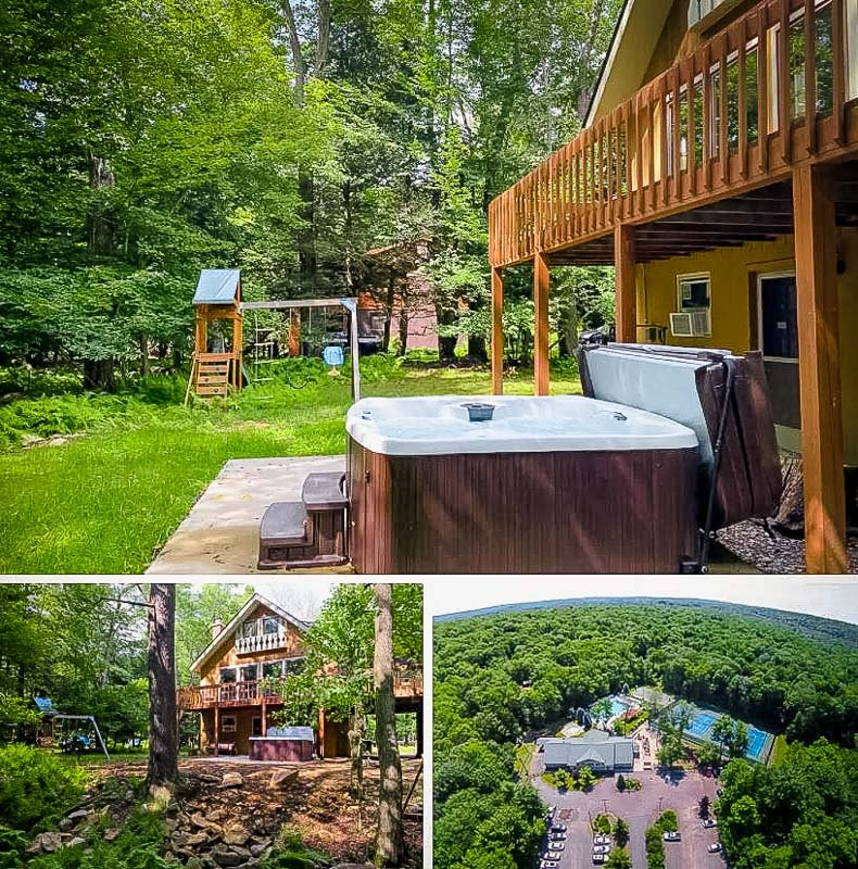 Outdoor hot tub and playground in the backyard